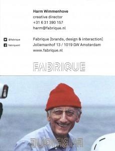 Harms visitekaartje bij FABRIQUE met achterop Cousteau